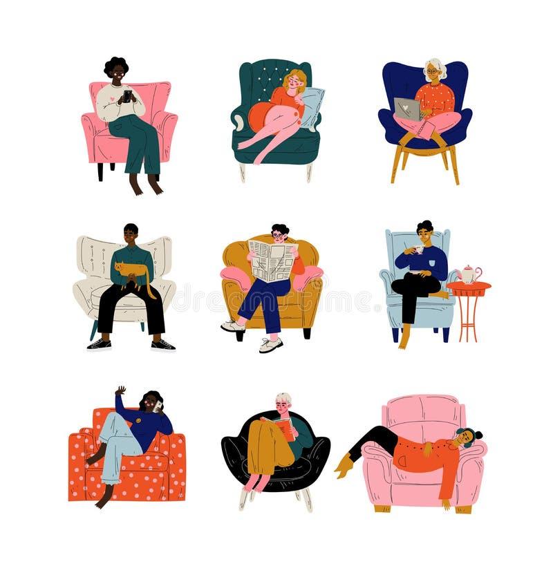 Povos que sentam-se em casa no grupo confortável da poltrona, os homens e as mulheres descansando, chá bebendo ou café, trabalhan ilustração do vetor