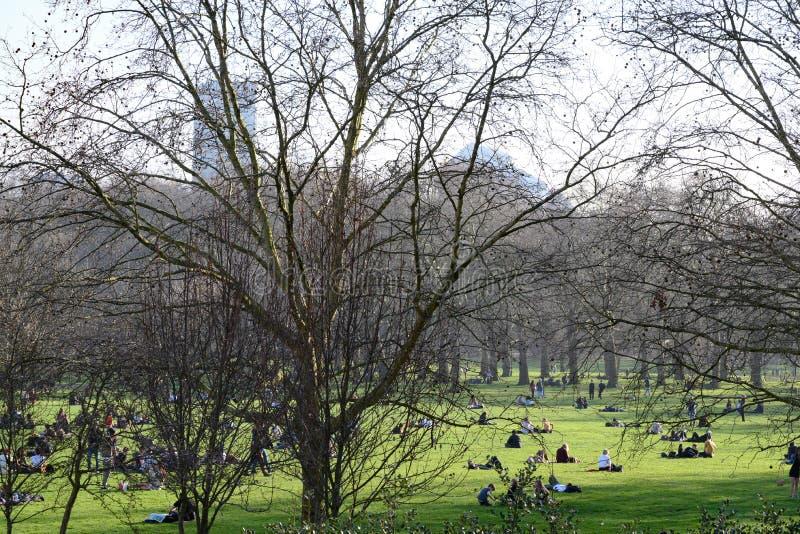 Povos que sentam-se em Green Park em Londres no tempo de mola, fotos de stock