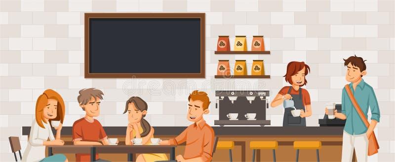 Povos que sentam-se em uma cafetaria ilustração stock