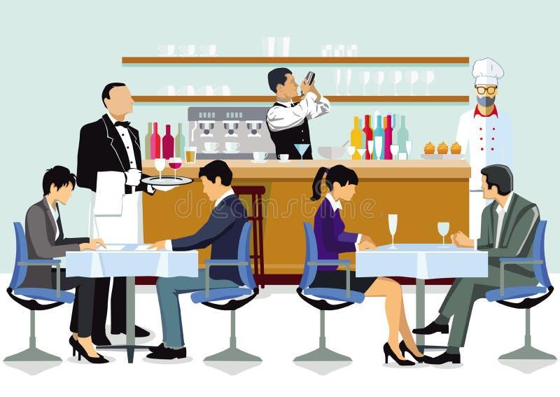 Povos que têm bebidas no restaurante ilustração do vetor