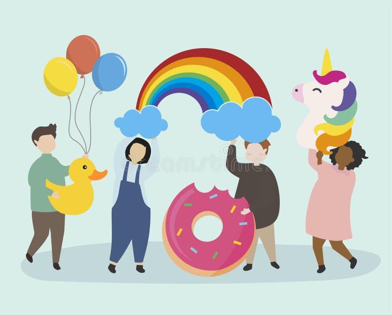 Povos que têm uma celebração do partido ilustração stock
