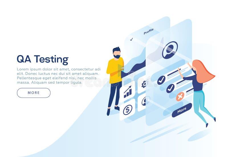 Povos que testam a relação e a usabilidade de uma aplicação móvel Ilustração isométrica Conceito da página da aterrissagem ilustração do vetor
