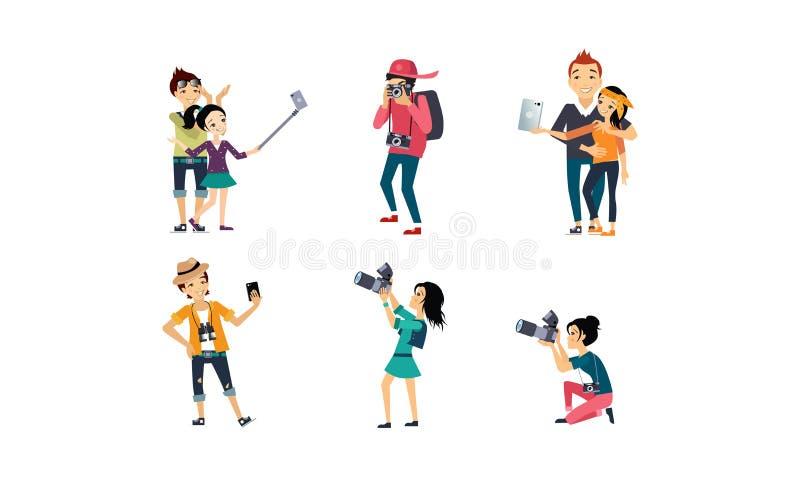 Povos que tomam o grupo das fotos, fotógrafo profissional com câmera, pessoa criativo que faz a ilustração do vetor do selfie na ilustração stock