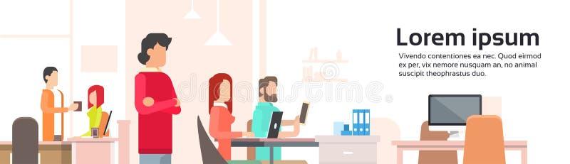 Povos que trabalham a bandeira aberta Center do espaço de escritórios de Coworking ilustração do vetor