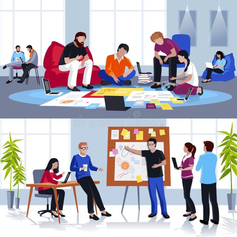 Povos que trabalham em Team Flat Compositions ilustração do vetor