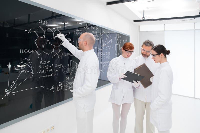 Povos que trabalham no laboratório de química foto de stock