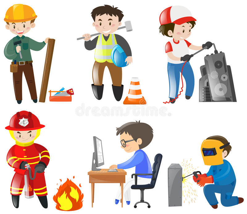 Povos que trabalham trabalhos diferentes ilustração royalty free