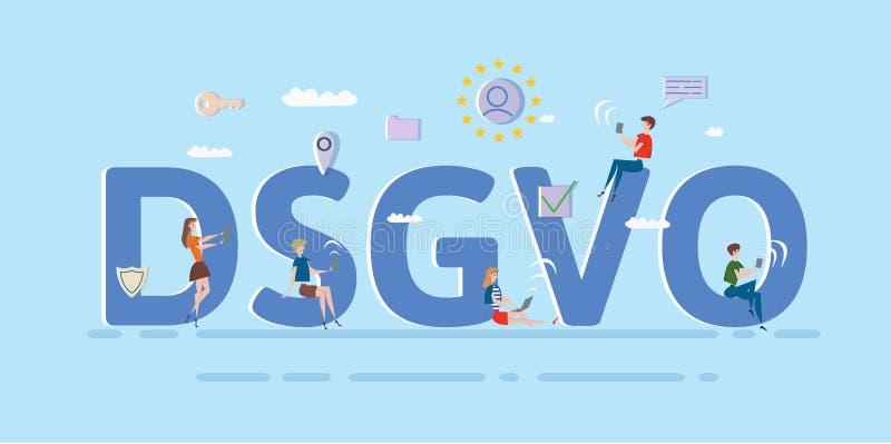 Povos que usam dispositivos e dispositivos de Internet móveis entre letras grandes de DSGVO GDPR, RGPD, DPO ilustração do vetor d ilustração stock
