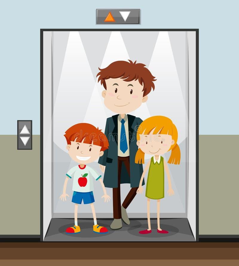 Povos que usam o elevador que vai acima ilustração do vetor