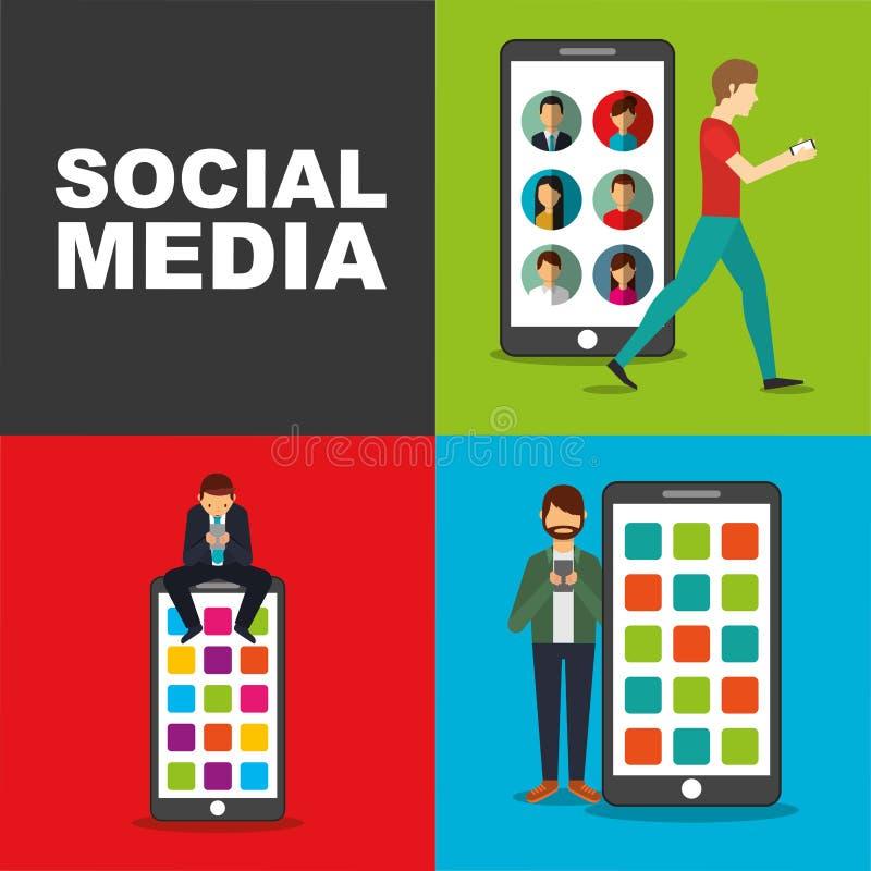 Povos que usam o smartphone com meios grandes do social do dispositivo móvel ilustração do vetor