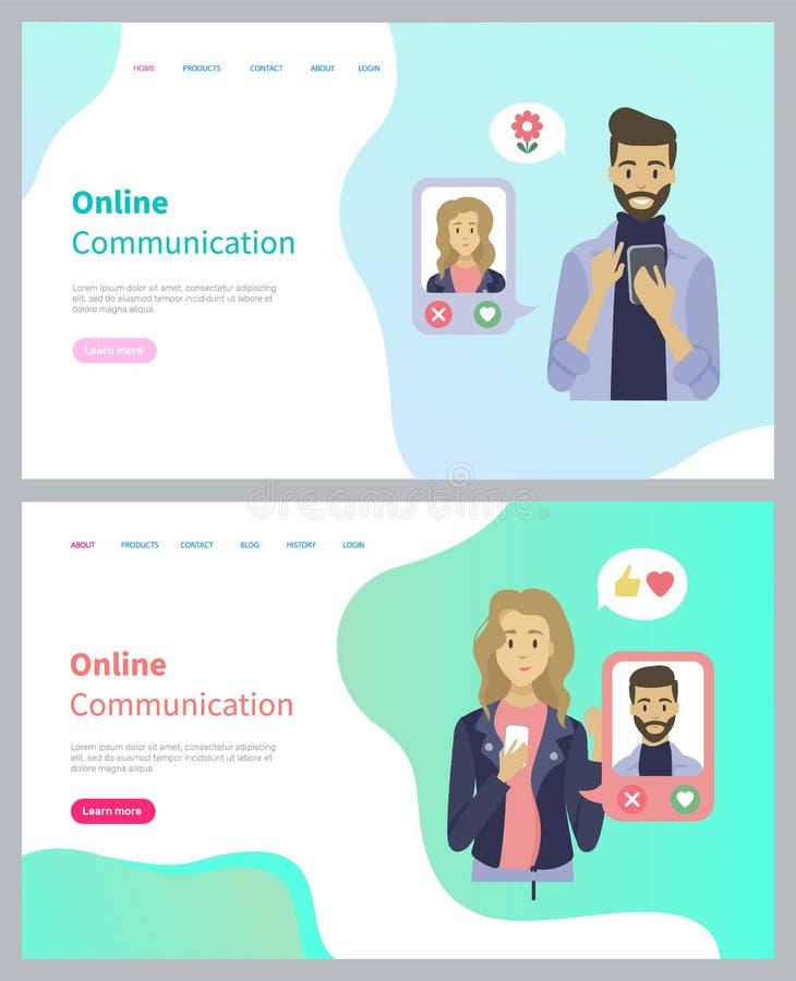 Povos que usam o telefone, datando o App, vetor de conversa ilustração stock