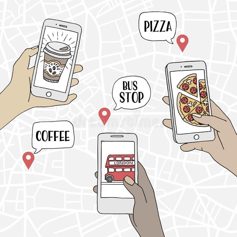 Povos que usam seus smartphones para encontrar restaurantes e o transporte público ilustração stock