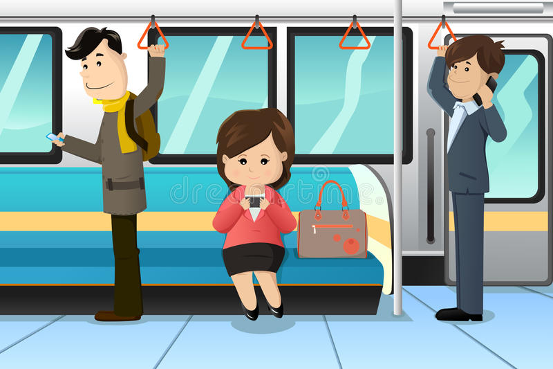 Povos que usam telemóveis em um trem ilustração do vetor