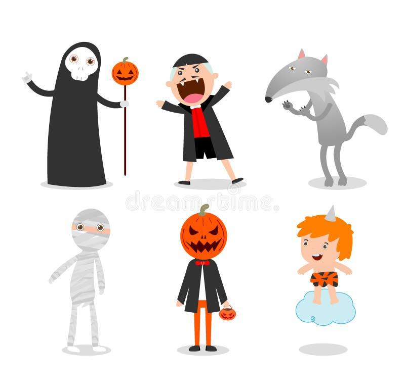Povos que vestem o traje do monstro de Dia das Bruxas no fundo branco, ilustração stock