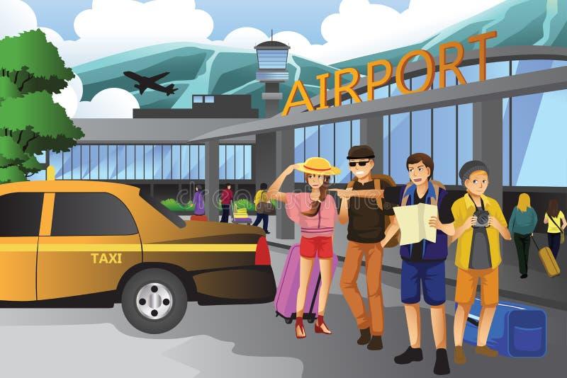 Povos que viajam junto ilustração royalty free