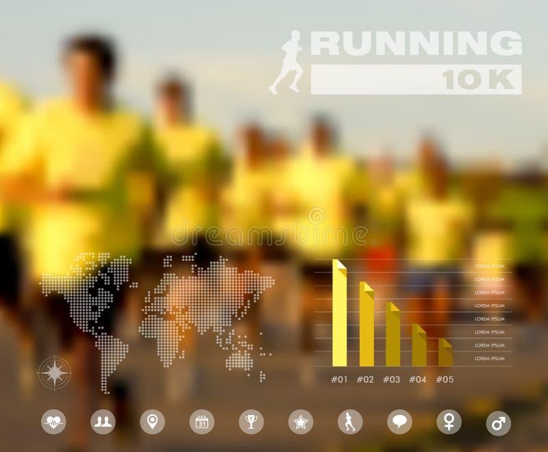 Povos running infographic borrado ilustração do vetor