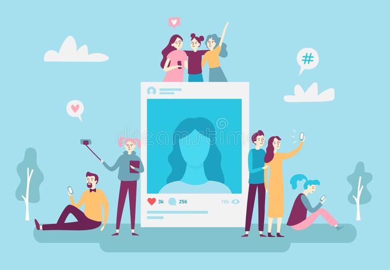 Povos sociais dos jovens do cargo da foto da rede que afixam fotos do selfie no smartphone Conceito social do vetor do apego dos  ilustração do vetor