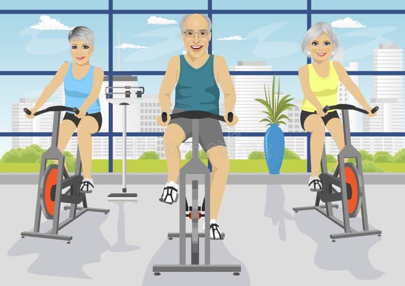 Povos superiores que dão certo no fitness center em bicicletas de exercício ilustração stock