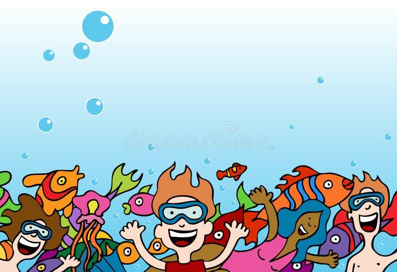 Povos Swimiing ilustração royalty free