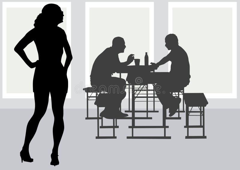 Povos a tabelar no café ilustração stock