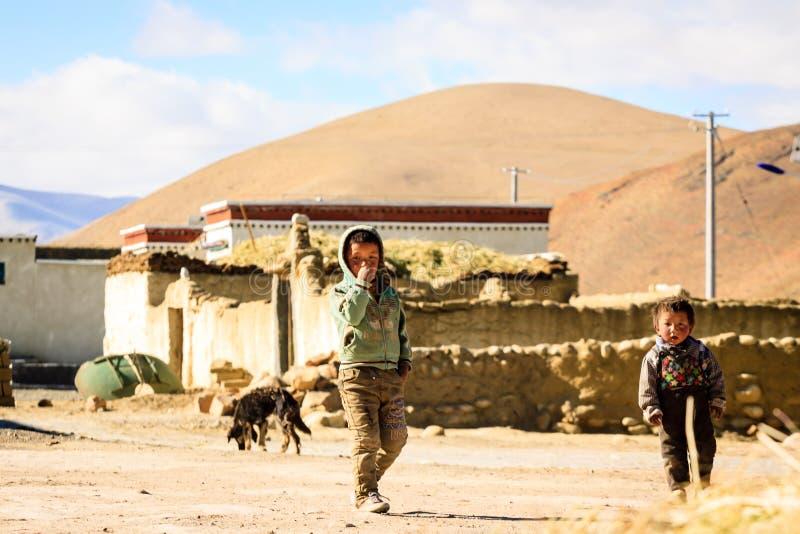 Povos tibetanos imagens de stock