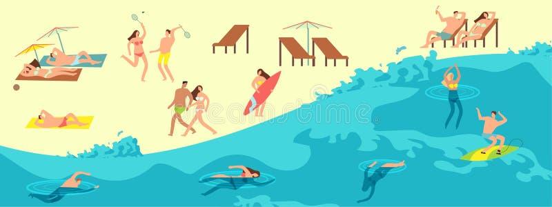 Povos tomando sol, do jogo e nadar na praia do verão Ilustra??o do vetor das horas de ver?o ilustração do vetor
