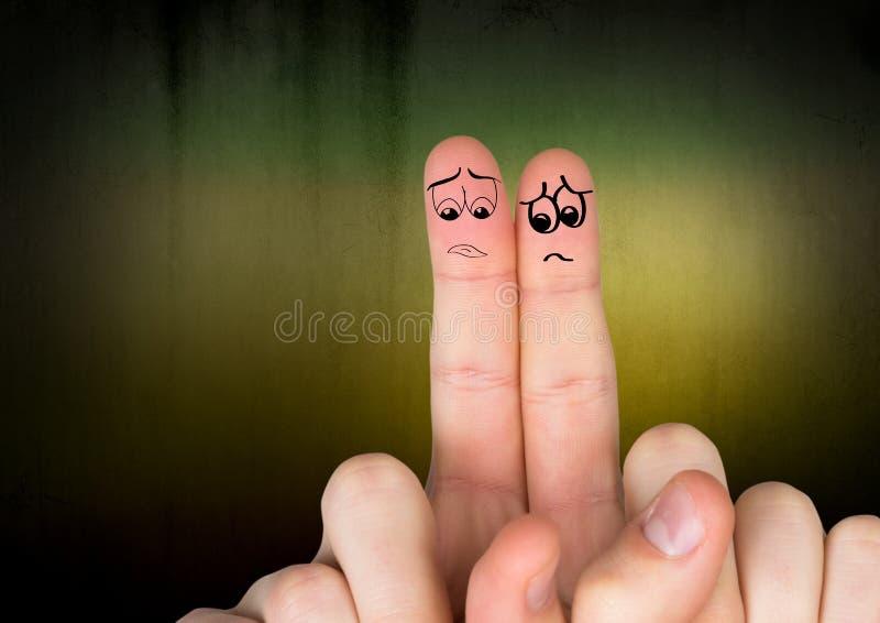 Povos tristes do dedo foto de stock