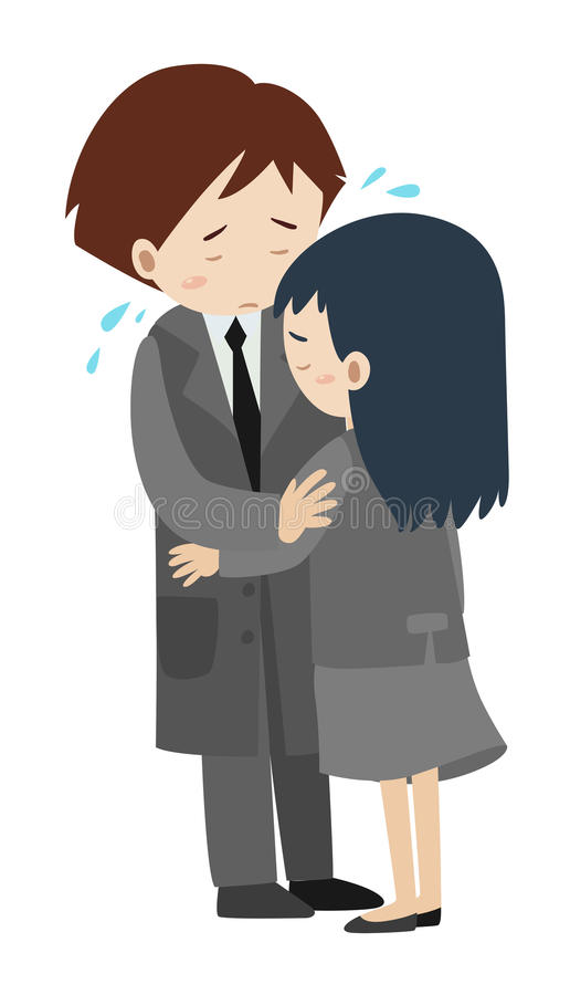 Povos tristes que abraçam e que gritam ilustração do vetor