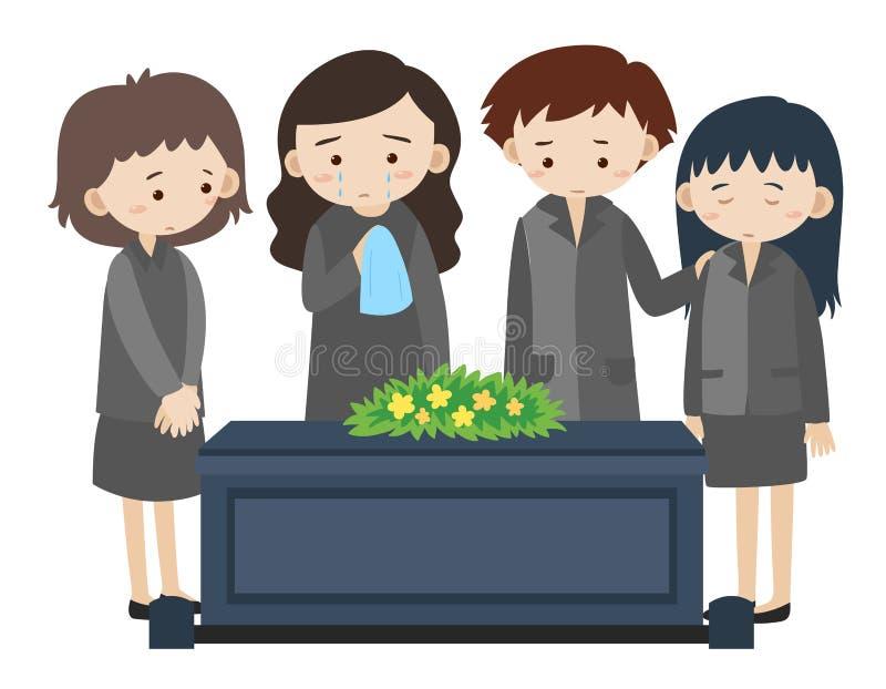 Povos tristes que gritam no funeral ilustração do vetor