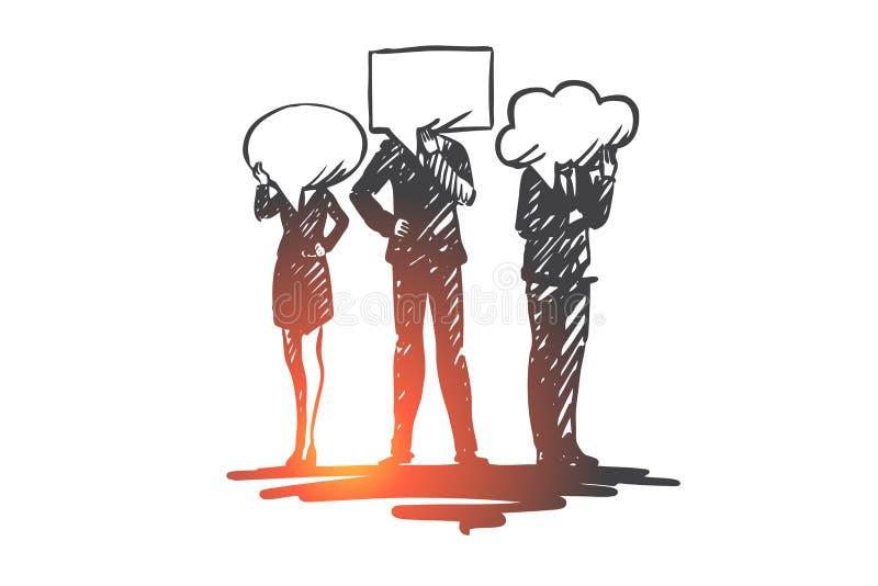 Povos, uma comunicação, conversa, discussão, conceito da mensagem Vetor isolado tirado mão ilustração royalty free