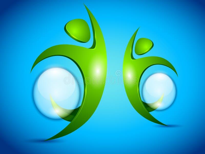 Povos verdes do vetor com bolha da água ilustração royalty free