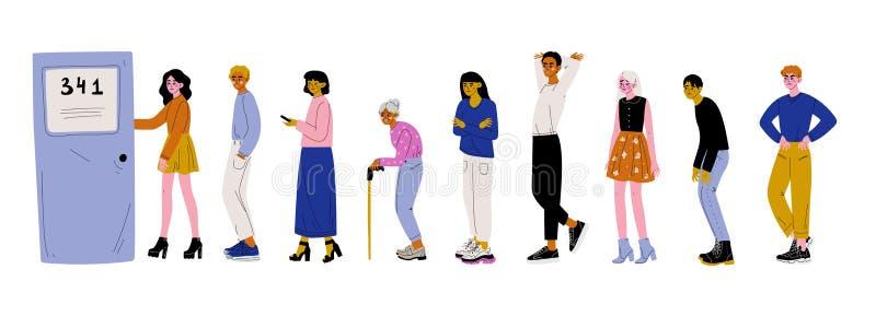 Povos vestidos na roupa ocasional que está na linha ou na fila perto da ilustração do vetor da porta ilustração stock