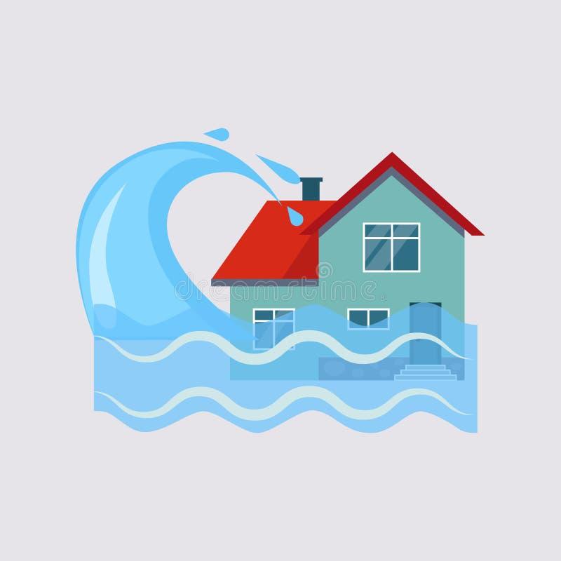 Powódź Domowy Asekuracyjny Wektorowy Illustartion ilustracja wektor