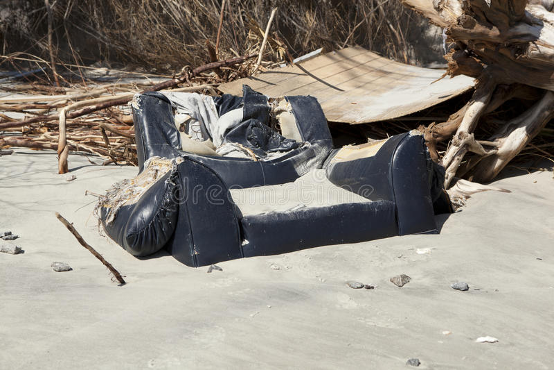 Powódź gruzy zakopujący piaskiem obraz royalty free