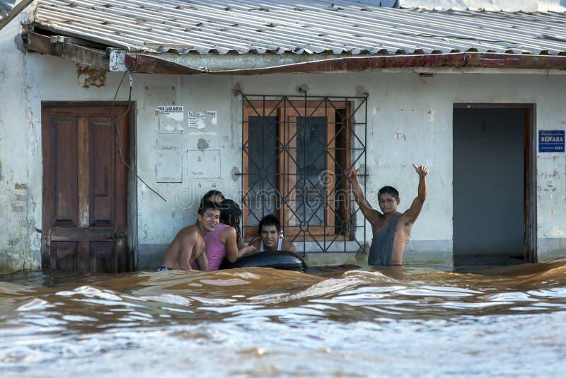 Powódź nawadnia w Iquitos w Peru zdjęcie royalty free