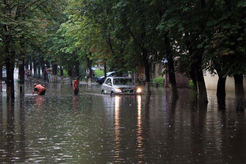 Powódź po ulewnego deszczu obrazy royalty free