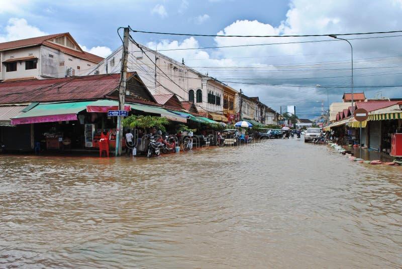 Powódź w Cambodia obraz stock