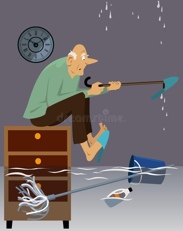 Powódź w dziadunia ` s domu ilustracja wektor