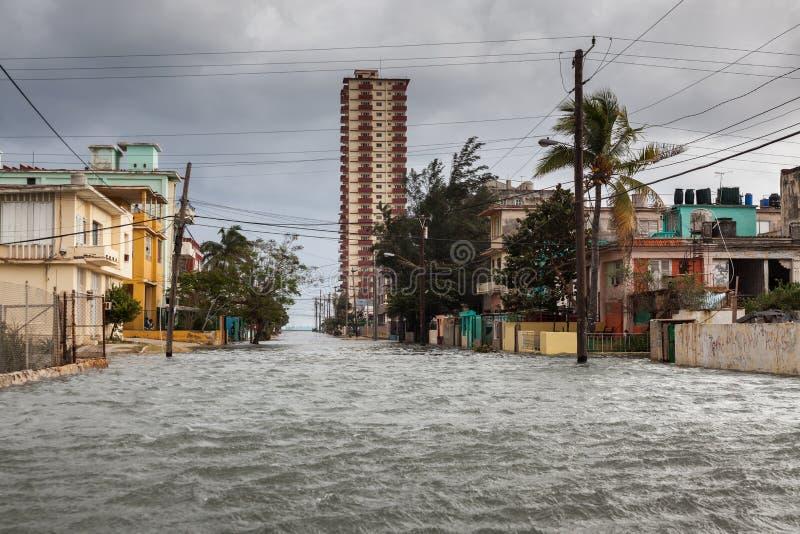 Powódź w Hawańskim, Kuba fotografia royalty free