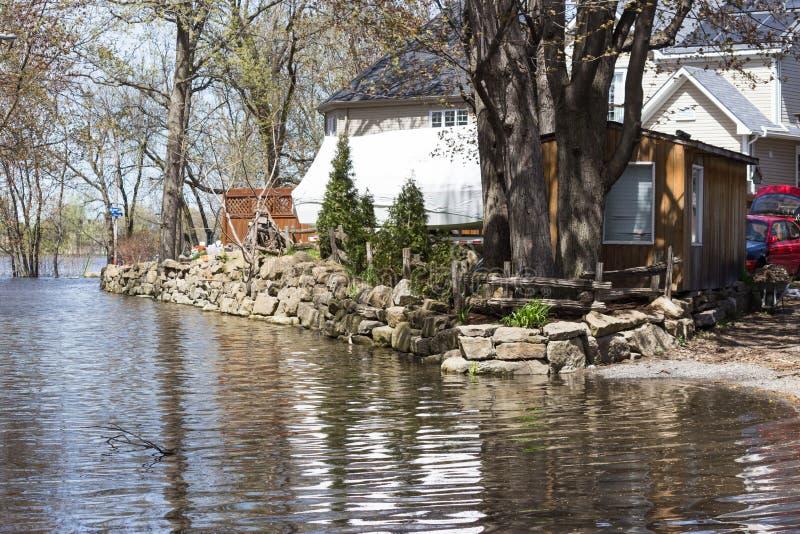 Powódź w Laval Zachodnim, Quebec zdjęcie stock