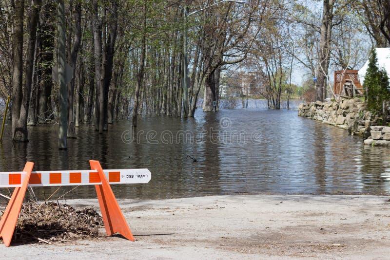 Powódź w Laval Zachodnim, Quebec fotografia stock