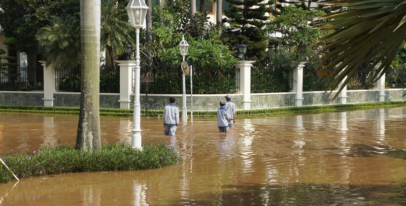 Powódź w Zachodni Dżakarta, Indonezja fotografia royalty free