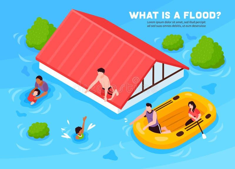 Powódź wektoru ilustracja ilustracji