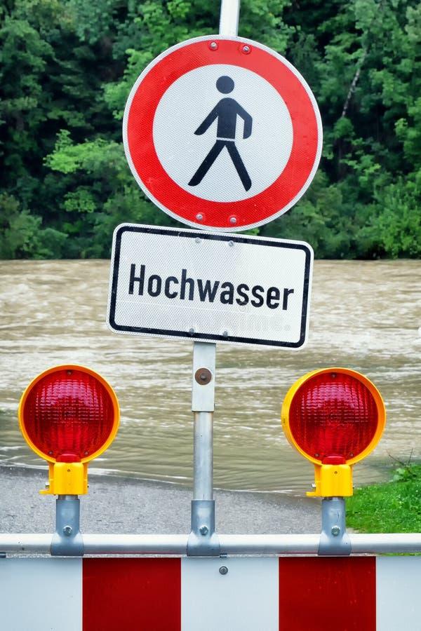 Powódź znak ostrzegawczy zdjęcie stock