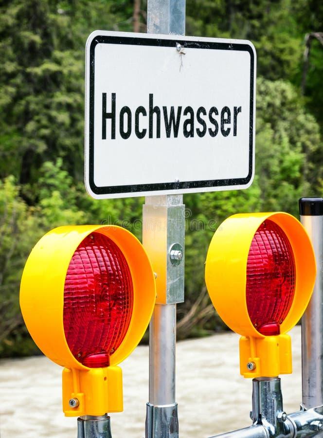 Powódź znak ostrzegawczy fotografia stock