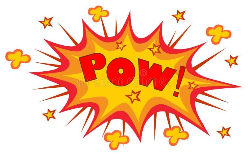 POW! de verwoording van correct effect vastgesteld ontwerp voor grappig stock illustratie