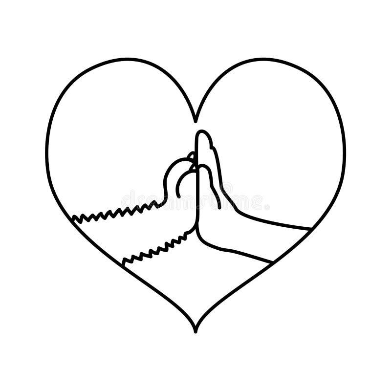 Pow en hand hoge vijf lijnkunst in hartkader stock illustratie