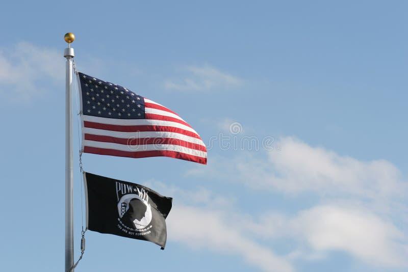 pow mia американских флагов стоковое изображение