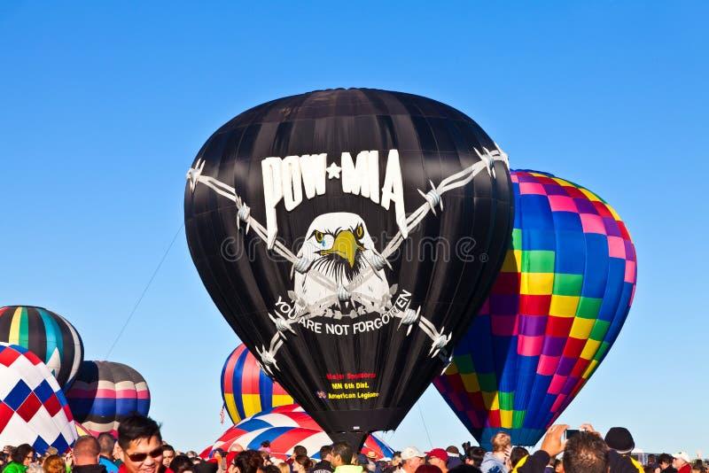 POW*MIA Hot air balloon. Albuquerque balloon festival October 4, 2014 stock photo