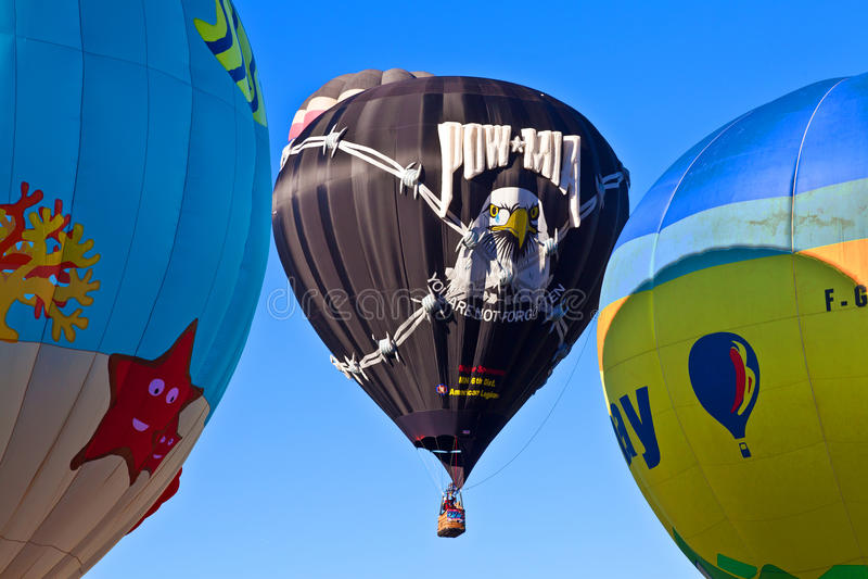 POW*MIA hot air balloons. Albuquerque balloon festival October 4, 2014 royalty free stock photos